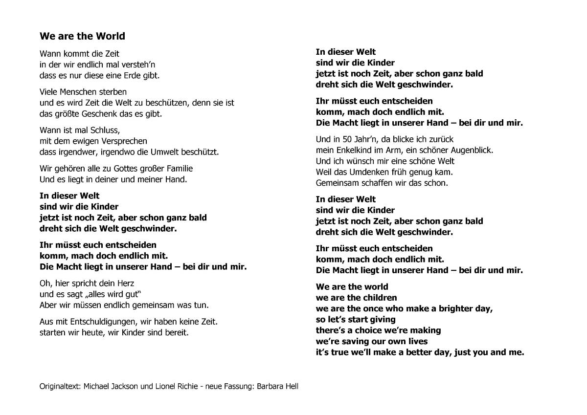 We are the world - Deutsch